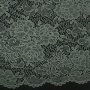 Green-D Floral Pattern on Scalloped Edge Lace Fabric