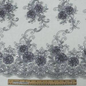 Gray 3D  Bridal Melissa Double Floral Embroidered with Sequin Foil Mesh Scalloped Wedding Lace Fabric