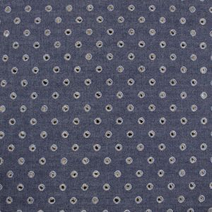 Indigo Chambray Punched Holes Woven Cotton Fabric