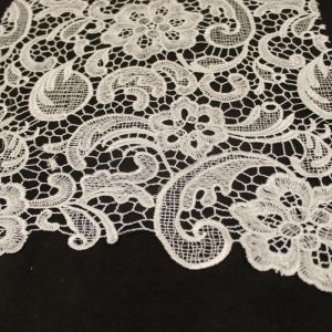 Ivory Gold Venice Guipure Embroidered Lightweight Wedding Bridal Lace Fabric
