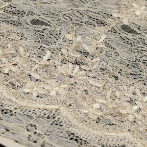 Ivory Evelyn Floral Embroidered  Sequin Embroidered Lace Fabric