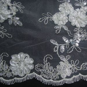 Ivory Silver Bridal Embroidered Floral Sequin  Wedding Fabric