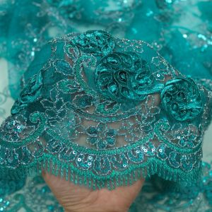 Jade 3D Melissa Double Floral Embroidered with Sequin Foil Mesh Scalloped Lace Fabric