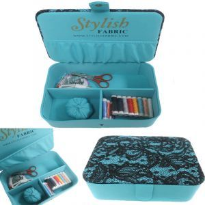 Jade Stylish Sewing Box Kit Lace Sequin Cover Top with Sewing Kit Accessories Notions