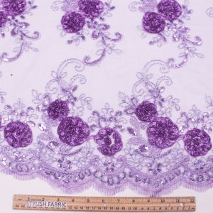 Lilac 3D Melissa Double Floral Embroidered with Sequin Foil Mesh Scalloped Lace Fabric