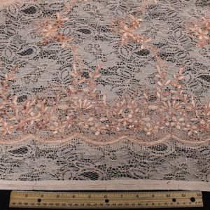 Light Blush Evelyn Floral Embroidered  Sequin Embroidered Lace Fabric