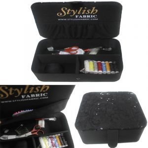 Black Stylish Sewing Box Kit Lace Sequin Cover Top with Sewing Kit Accessories Notions