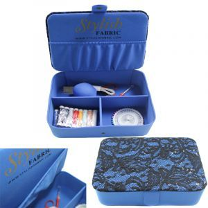 Blue Stylish Sewing Box Kit Lace Sequin Cover Top with Sewing Kit Accessories Notions