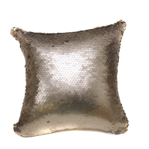 Malt Future Gold All over Round Sequin 16X16 Pillow with Shimmer Pillow Sham Accent Pillow