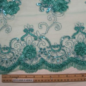 Mint 3D Hyacinth Trio Floral Sequin Foil Embroidered 54'' on Mesh Scalloped Lace Fabric