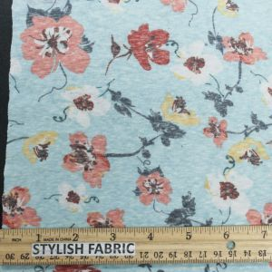"""Mint Coral 59"""" Floral Printed Polyester Cotton Knit Fabric"""