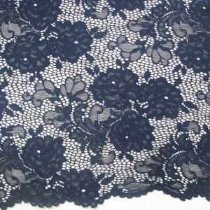 Navy Floral Pattern on Scalloped Edge Lace Fabric