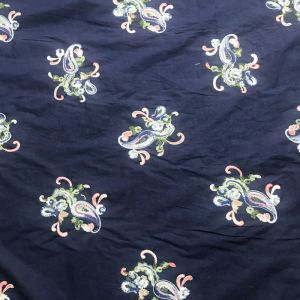 Navy Denim Hand Embroidery Paisley Pattern on Cotton Voile Fabric by the Yard