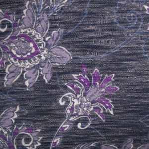 Navy Dusty Lavender Large Floral  Printed on French Terry Fabric