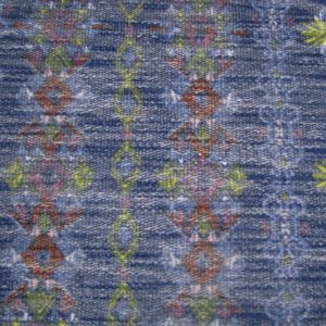 Navy Lime Waverly Floral Printed on French Terry Loop Fabric