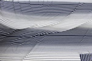 Navy Off White 100% Crepe Viscose Variegated Stripe Jersey Knit Fabric