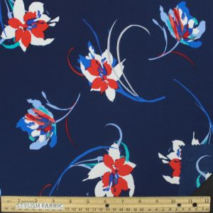 Navy Red, White, and Blue Flowers on 97% Polyester and 3% Spandex Bubble Chiffon Fabric
