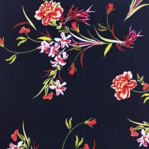 Navy Red Botanical Floral Prints on Scuba Crepe Knit Fabric