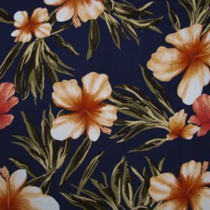 """Navy Tangerine 58"""" Floral Printed on Wool Dobby Fabric"""