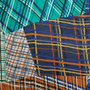 Navy Turquoise Checkered Plaid Pattern on Hi-Multi Chiffon Fabric
