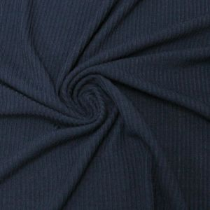 Navy 4x2 Thermal Ribbed Stretch Knit Fabric