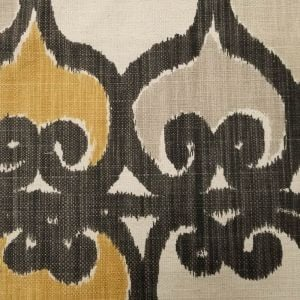 Oatmeal Mustard Damask Abstract Pattern on Upholstery Fabric by the Yard