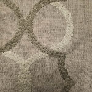 Oatmeal Sand Geometric Embroidered Cotton Canvas Fabric