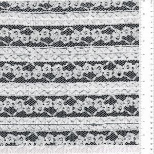 Off White Samantha Stretchy Cotton Floral Lace Fabric Ruffle Lace Fabric