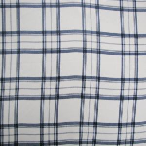 Off White Navy Plaid Printed on Wool Dobby Fabric