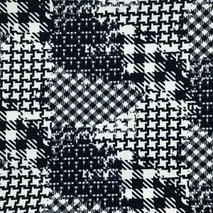 Off White and Navy Monochrome Pattern Printed on Liverpool Stretch Knit Fabric