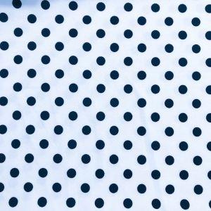 Off White and Navy Polka Dot Pattern Printed on Liverpool Stretch Knit Fabric