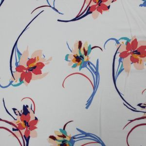 Offwhite Mulitcolored Flowers on 97% Polyester and 3% Spandex Bubble Chiffon Fabric