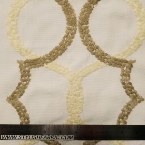 Off White Toffee Geometric Embroidered Cotton Canvas Fabric