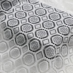 Off White Cassie Embroidered Medallion Nylon Stretch Lace Fabric