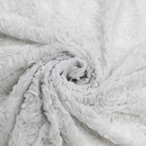 OffWhite 3D Rosette Mesh Lace Fabric
