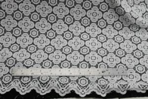 Off White Jenna Four Leaf Clover Stretch Scalloped Lace Fabric