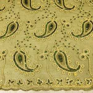 Olive and Gold Paisley Sequins Fabric by the yard Embroidered Sequins Lace Fabric Beaded Corded Scalloped Fabric