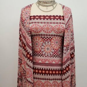 Heather Grey Coral Tribal Floral Pattern on Rayon Jersey Knit Fabric