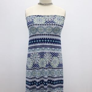 Heather Grey Blue Tribal Floral Pattern on Rayon Jersey Knit Fabric