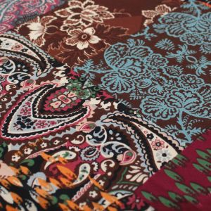 Brown Burgundy Slate Blue Ethnic Pattern Printed Poly Moroccan Fabric