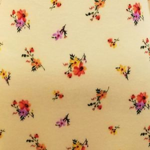 Pale Banana Tangerine Ditsy Foral Pattern Poly RayonJersey Knit Fabric