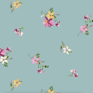 Sea Blue and Pink Ditsy Foral Pattern Poly Rayon Jersey Knit Fabric