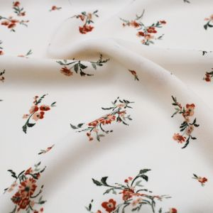 Champagne Caramel Floral Pattern Printed on Wool Dobby Fabric