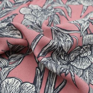 """Rose Gold Charcoal Large Floral Design 55"""" Light-Weight Rayon Challis Sand Wash Fabric"""