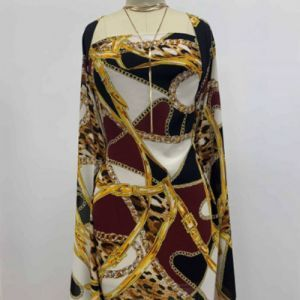 Black Burgundy Built with Chain and Animal Pattern Printed on Wool Dobby fabric