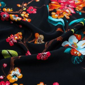 Black Coral Floral Asian Pattern Printed Poly Moroccan by the Yard