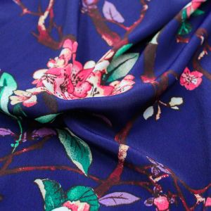 Midnight Blue Guava Floral Asian Pattern Printed Poly Moroccan by the Yard