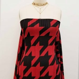 Red Black Houndstooth Printed on Hacci Rib Knit Fabric
