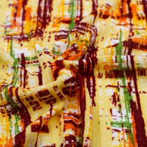 Banana Orange Abstract Pattern Printed On 100% Poly Pointelle Fabric by the Yard