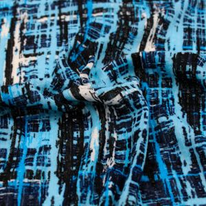 Blue Navy Abstract Pattern Printed On 100% Poly Pointelle Fabric by the Yard